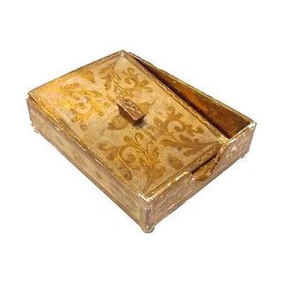 Vintage Florentine Desk Paper Storage Box For Sale