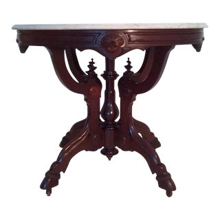 Ornate Mahogany and Marble Top Occasional Table For Sale