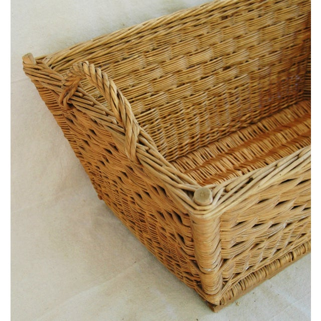 Brown Early 1900s French Willow & Wicker Market Basket For Sale - Image 8 of 9