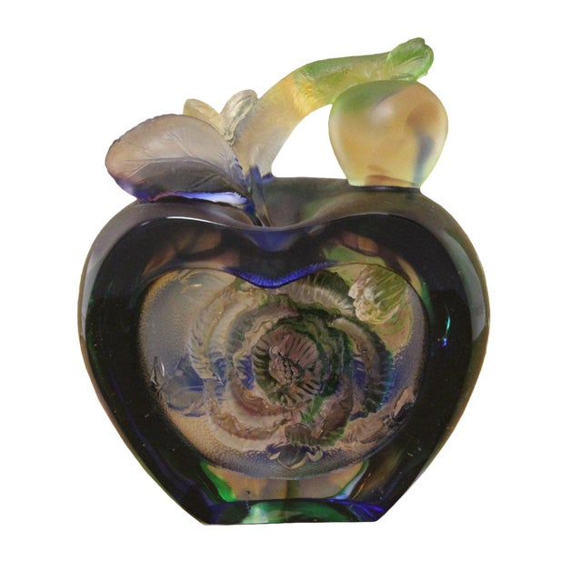 Liuli Crystal Glass Pate-De-Verre Rose Apple Paperweight For Sale