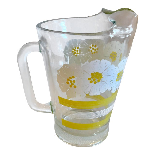Mid Century Modern White and Yellow Sunflower Glass Pitcher For Sale