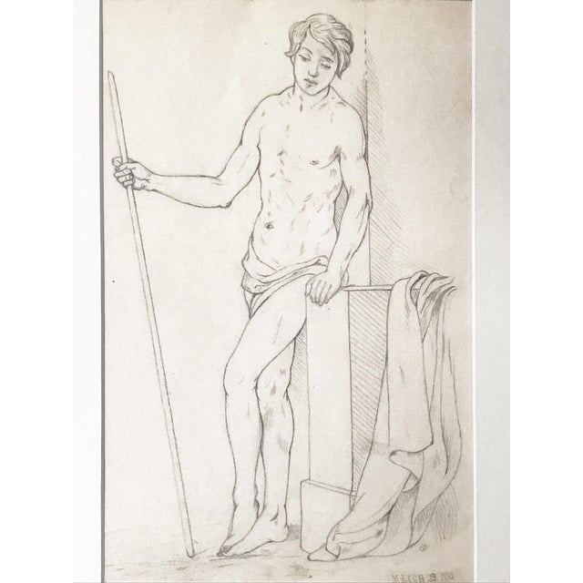 Grand Tour 19th Century Neoclassical Drawing of a Greco Roman Male Nude For Sale - Image 3 of 7