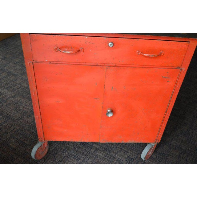 Storage Cabinet on Wheels With Steel Top as Kitchen Isle, Wait Stand, Home Bar For Sale - Image 4 of 13
