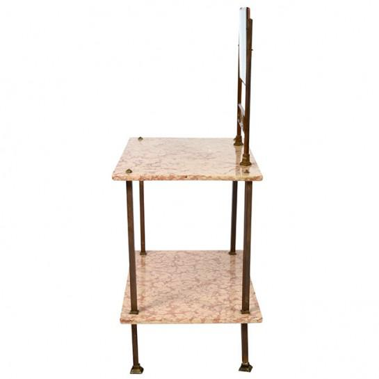 Art Deco Italian Marble and Brass Vanity. Vanity has two marble shelfs held by brass tubing supports with decorative screw...