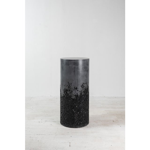 Hand Made Tourmaline and Black Plaster Tall Drum, Side Table by Samuel Amoia For Sale - Image 13 of 13