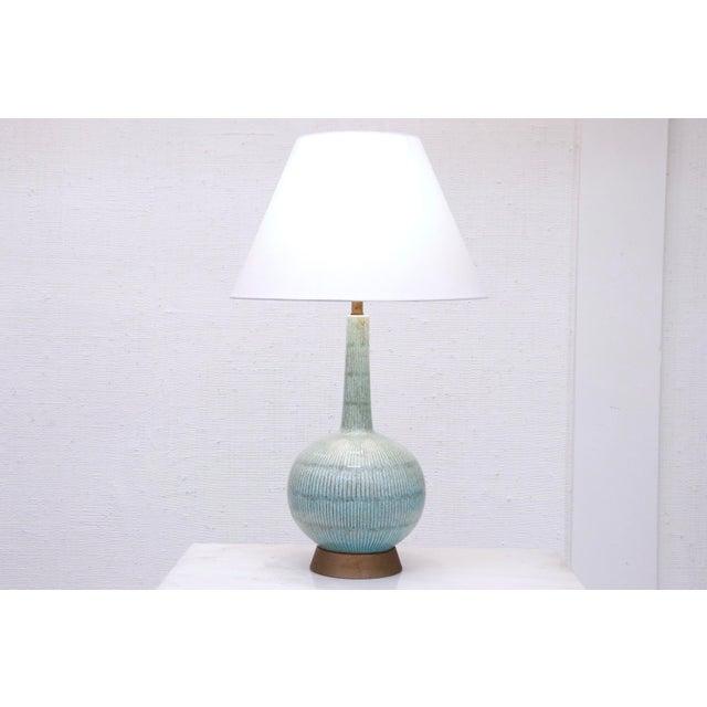 Vintage Blue Ceramic Lamp For Sale In New York - Image 6 of 7