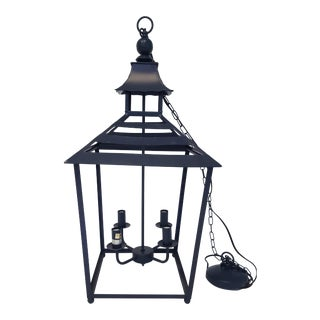 Chinoiserie Style Navy Tole Pendant Lantern (2 Available) For Sale