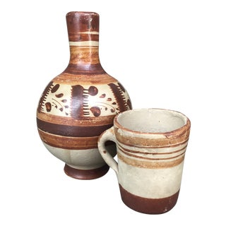 Vintage Mexican Folk Art Unglazed Pottery Decanter and Mug - 2 Piece Set For Sale