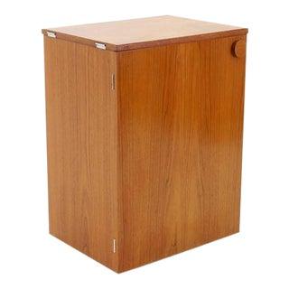 Erik Buch Portable Bar Cabinet or Bar Cart on Casters Teak, All Original For Sale