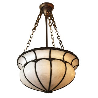 Hanging Light Fixture With Rounded White Glass and Brass Detail For Sale