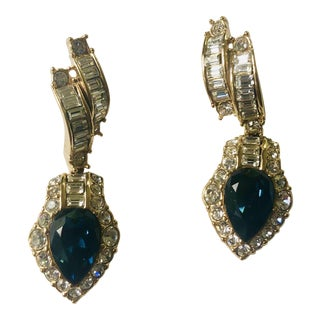 Vintage Attwood & Sawyer Blue Topaz and Crystal Earrings For Sale