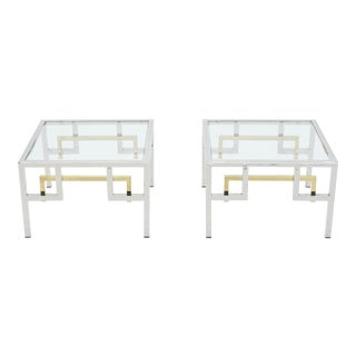 Mid-Century Brass Chrome Side Tables by Guy Lefevre for Maison Jansen - a Pair For Sale