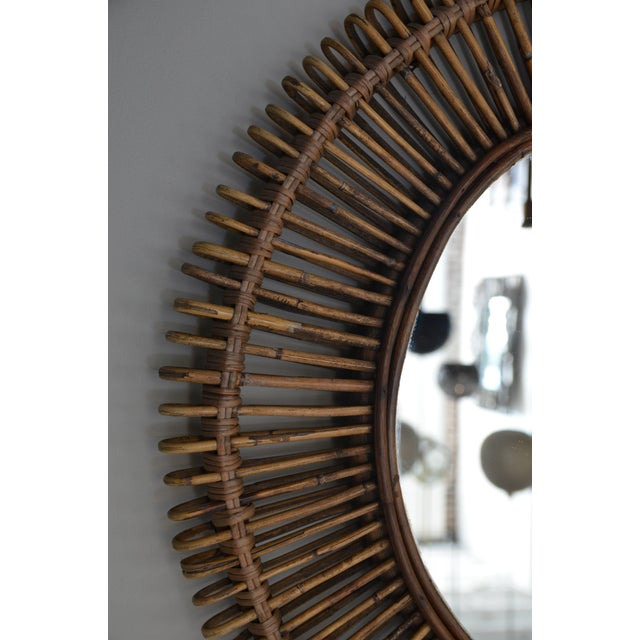 """DESIGN FRERES Contemporary """"Oculus"""" Round Rattan Mirrors - a Pair For Sale - Image 4 of 7"""