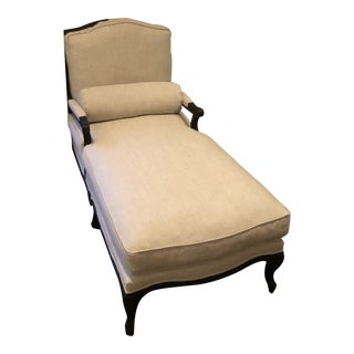Restoration Hardware Toulouse Beige Linen and Oak Chaise Lounge