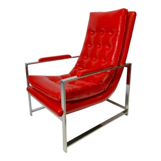 1970's Milo Baughman Chrome Tufted Sling Lounge Chair For Sale