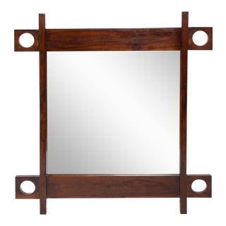 Sergio Rodrigues Wall Mirror in Jacaranda Wood For Sale