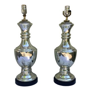 1960s. Mercury Glass Lamps, a Pair For Sale