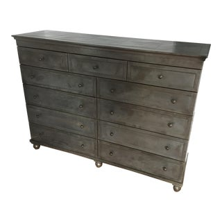 Restoration Hardware Annecy Metal Wrapped Zinc Dresser For Sale