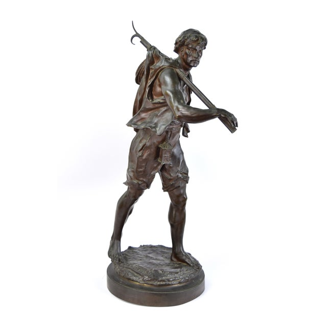 """""""The Whaler"""" Antique Emile Louis Picault French Bronze Sculpture For Sale In Chicago - Image 6 of 9"""