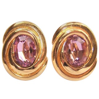 1980's Ciner Amethyst Rhinestone & Gold Tone Clip on Earrings For Sale
