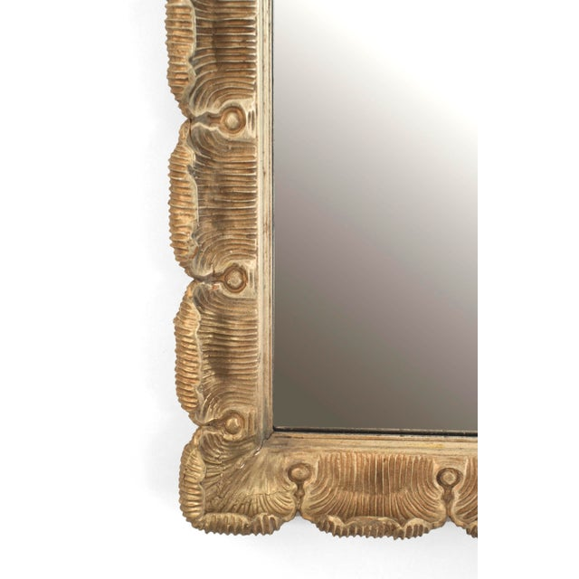 Italian Venetian style (1950s) gilt and cream painted trimmed carved fluted and scalloped frame wall mirror.