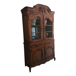 French Country Heritage Flower Basket China Cabinet