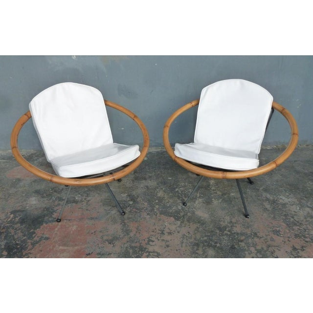 Tan Rare Mid Century Flying Saucer Ritts Tropitan Rattan and Iron Patio Chairs Restored For Sale - Image 8 of 9