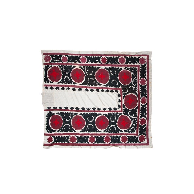 Vintage Red & White Suzani Textile For Sale
