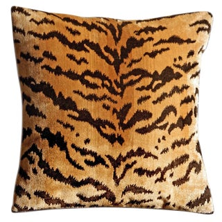 New! Scalamandre 100% Silk Pile Tigre Accent Pillow ~ Down Feather Insert Included. For Sale