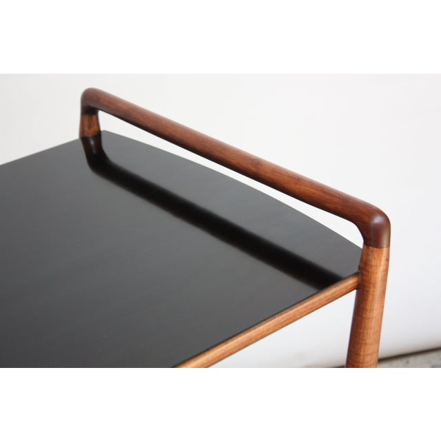 Black American Modern Walnut Three-Tier Rolling Bar / Tea Cart With Ebonized Surface For Sale - Image 8 of 13
