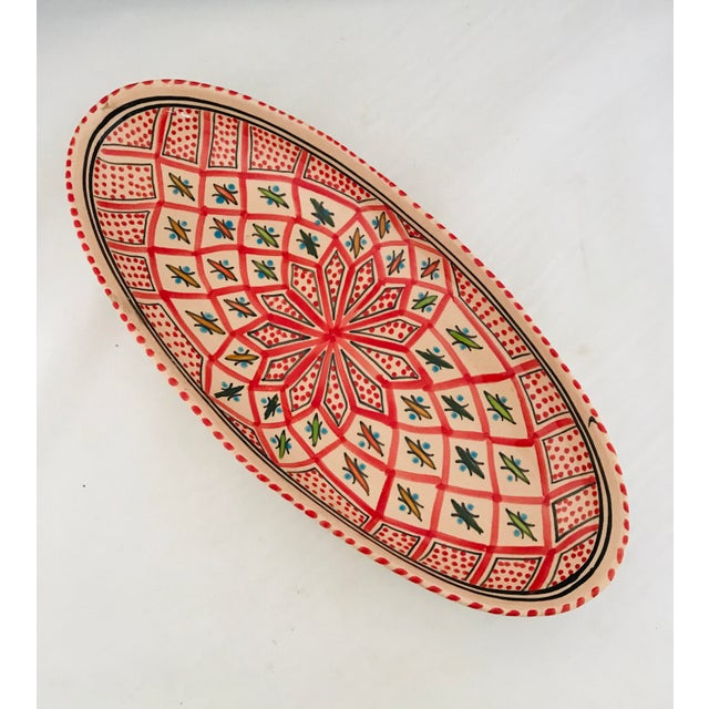 Beautiful Vintage Mexican terra cotta hand painted Oval server dish with traditional South American style patterns....