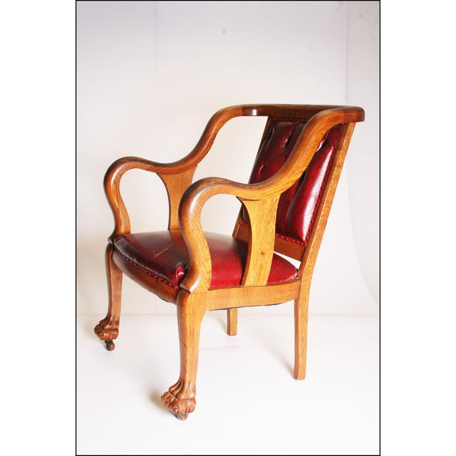 Edwardian Vintage Wood & Red Leather Gentleman's Chair For Sale - Image 3 of 11