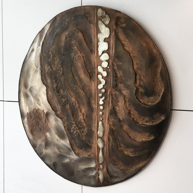 Set of Two Brutalist Mixed Metal Wall Sculptures Signed Wendell For Sale - Image 4 of 13