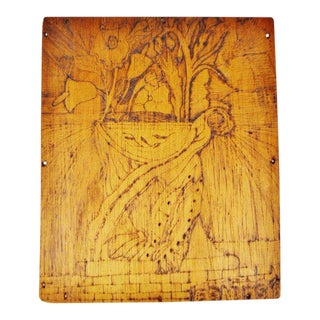 Vintage Pyrography Floral Wall Art For Sale