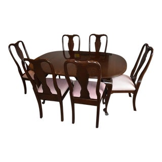 Ethan Allen Georgian Court Cherry Dining Set - 7 Pieces For Sale