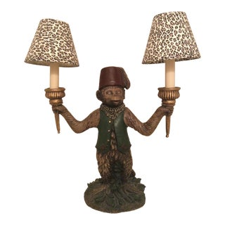 Bellhop Butler Monkey Chandelier With Small Leopard Lamp Shades