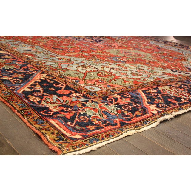 """Anglo-Indian Hand-Knotted Heriz Rug - 10' x 15'4"""" For Sale - Image 3 of 4"""