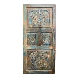Vintage Rustic Blue Floral Carved Door Panel For Sale