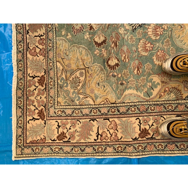 Celadon Antique Persian Area Rug- 4′9″ × 6′5″ For Sale - Image 8 of 9