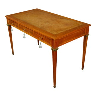 Leather Top Louis XVI Style Writing Desk with Brass Trim For Sale