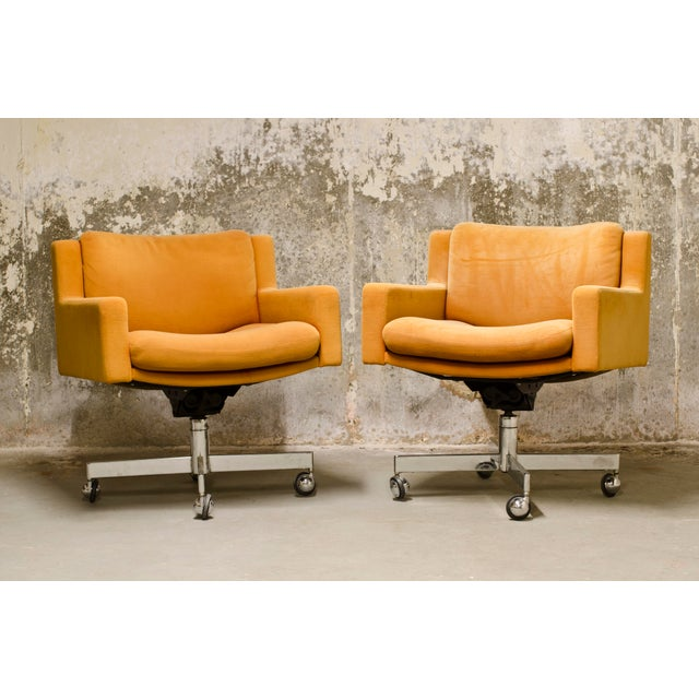 Textile Robert Haussmann for De Sede Executive Swivel Armchairs - A Pair For Sale - Image 7 of 7