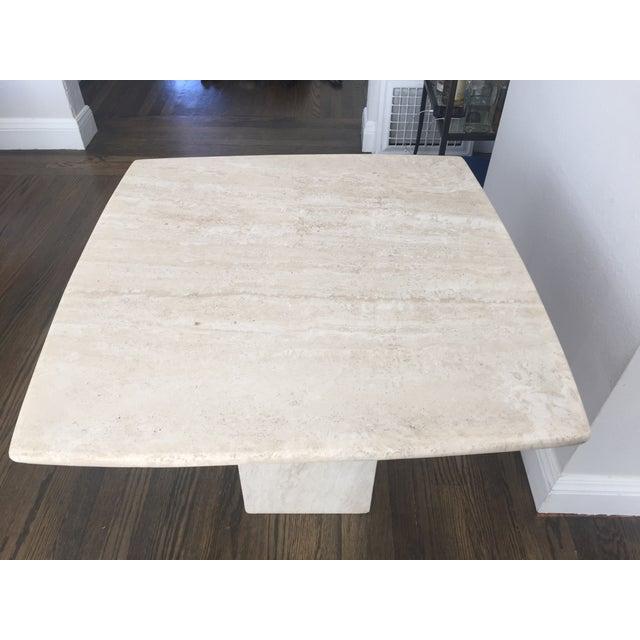 Italian Travertine Marble Side Table - Image 2 of 6