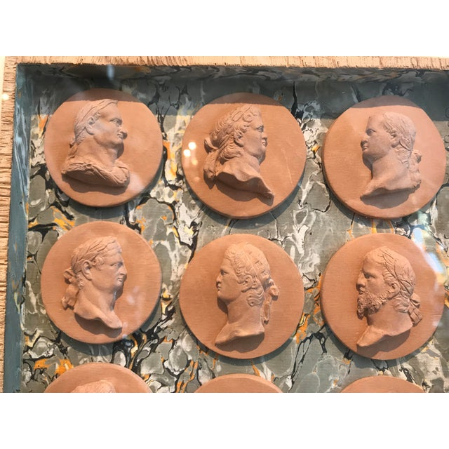 Italian 19th Century Italian Terracotta Intaglios in Custom 24-Karat Gilded Frame For Sale - Image 3 of 7