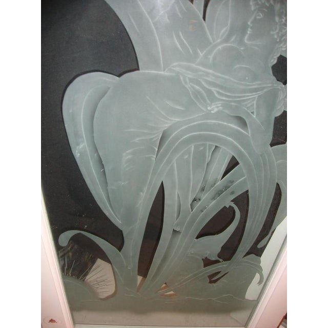 Art Deco Style Etched Glass Wall Decorations - A Pair For Sale - Image 4 of 7