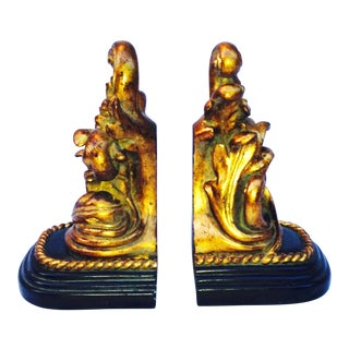 Gold Leaf Rococo Bookends - A Pair For Sale