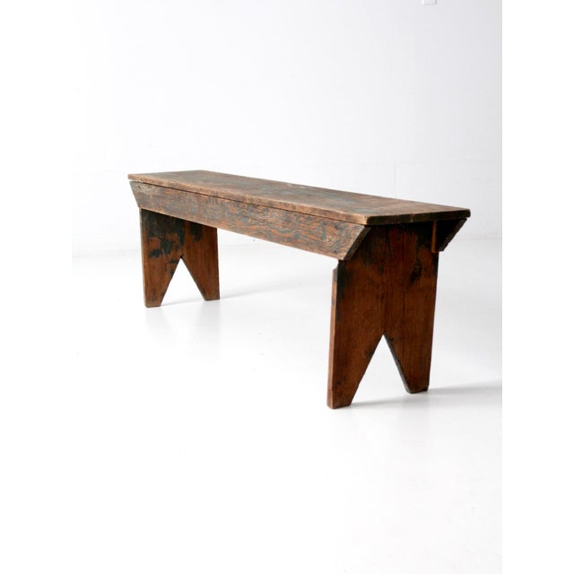 Cottage Antique Wooden Bench For Sale - Image 3 of 11