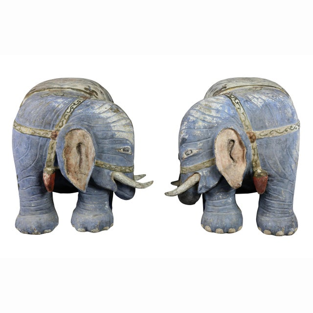 Blue Chinese Painted Wood Elephants on Brackets - a Pair For Sale - Image 8 of 13