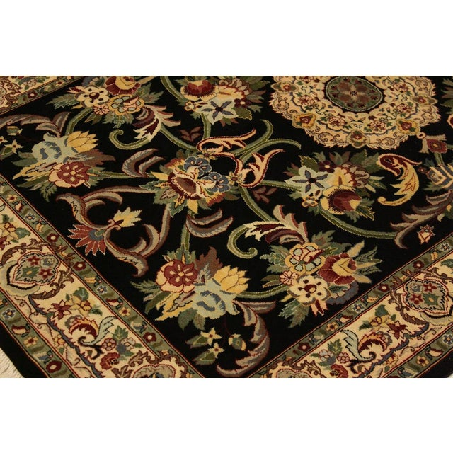 Anarkali Pak-Persian Virgil Black/Ivory Wool Rug - 4'2 X 6'2 For Sale In New York - Image 6 of 8