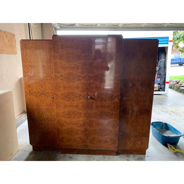 1930s Art Deco Burlwood Armoire For Sale - Image 9 of 9