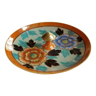 Cloissonne Candy Dish W/Center Handle Orange Blue